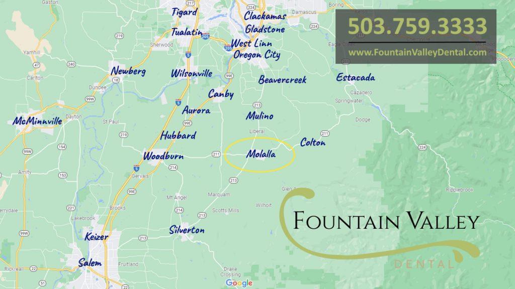 Map of Molalla, Oregon Serving Patients from Mulino, Oregon City, Canby, Silverton, Colton, Beavercreek, Estacada, Woodburn, Salem, West Linn, Gladstone, Tualatin, Wilsonville, Aurora, Hubbard, Barlow, Gervais, Keizer, McMinnville, Hayesville, Newberg